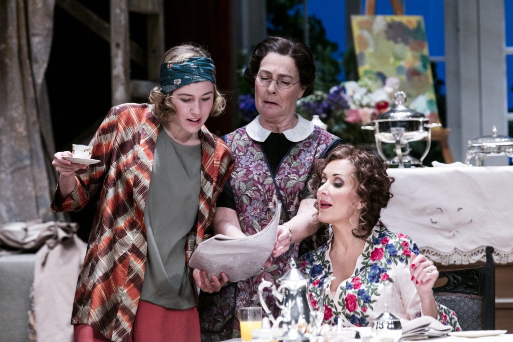 Imogen Sage, Marg Downey and Marina Prior in MTC's production of Hay Fever.