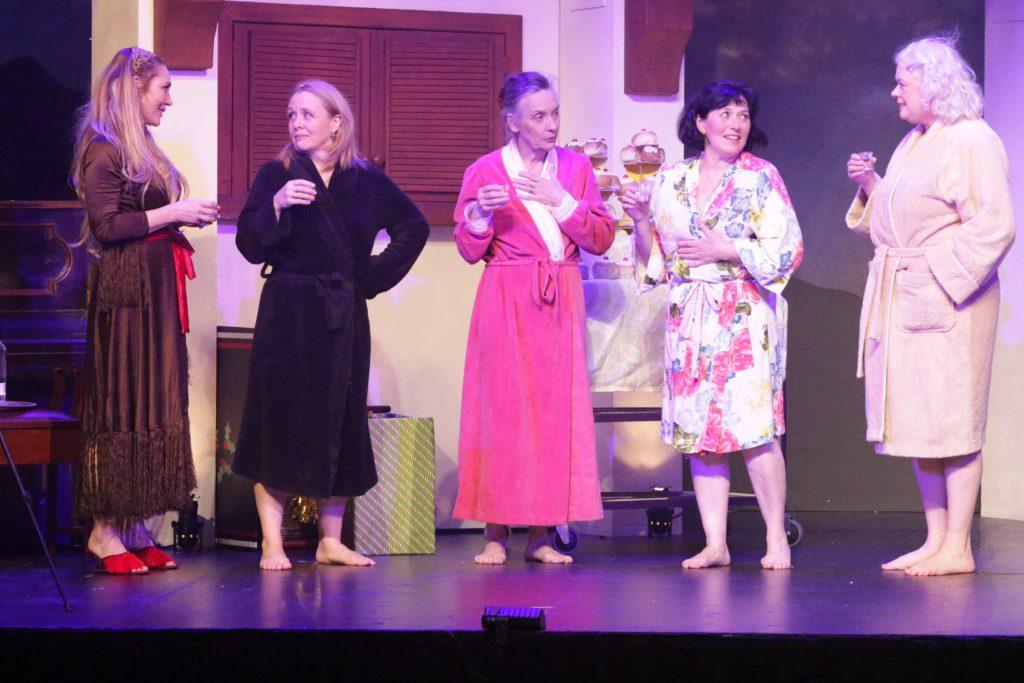 The Calendar Girls preparing for the photo shoot- from left Tottie Goldsmith (Celia), Kate Gorman (Cora), Francesca Waters (Jessie), Jenny Seedsman (Chris) and Abi Richardson (Annie).