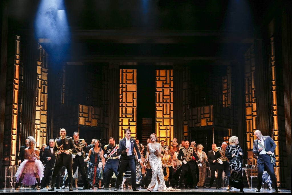 The cast of Opera Australia's production of The Merry Widow at the Arts Centre Melbourne.
