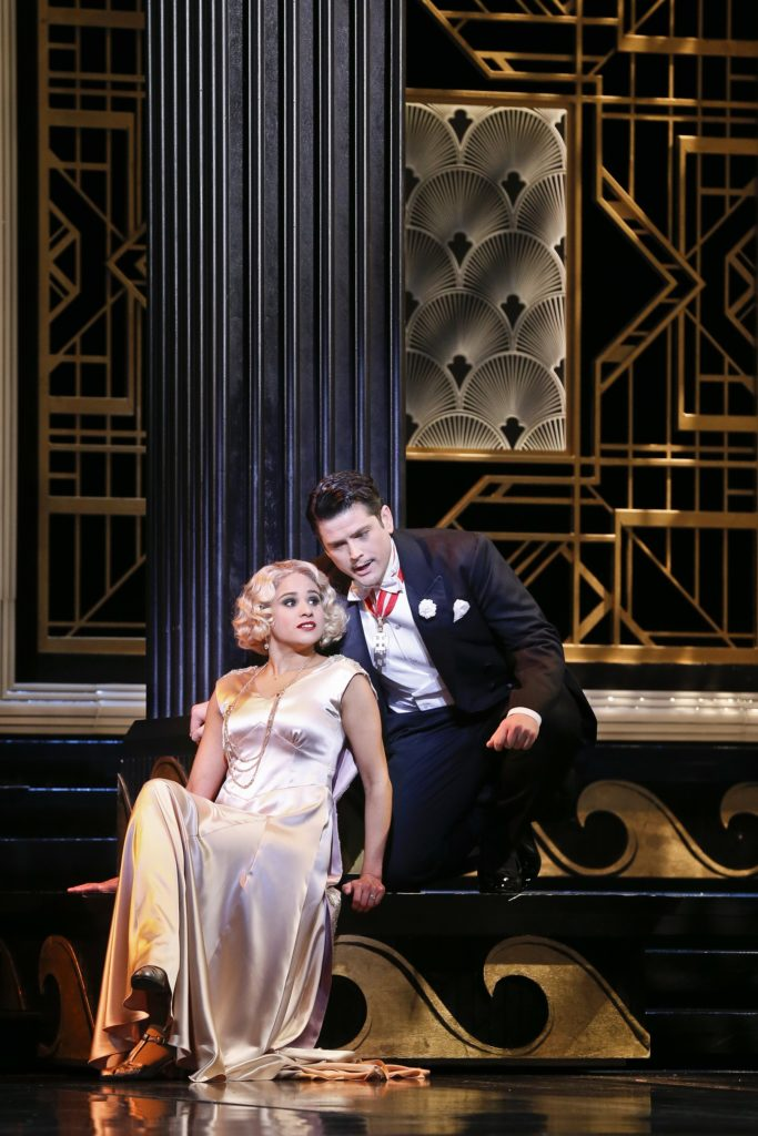 Stacey Alleaume as Valencienne and John Longmuir as Camille de Rosillon in Opera Australia's production of The Merry Widow at the Arts Centre Melbourne.