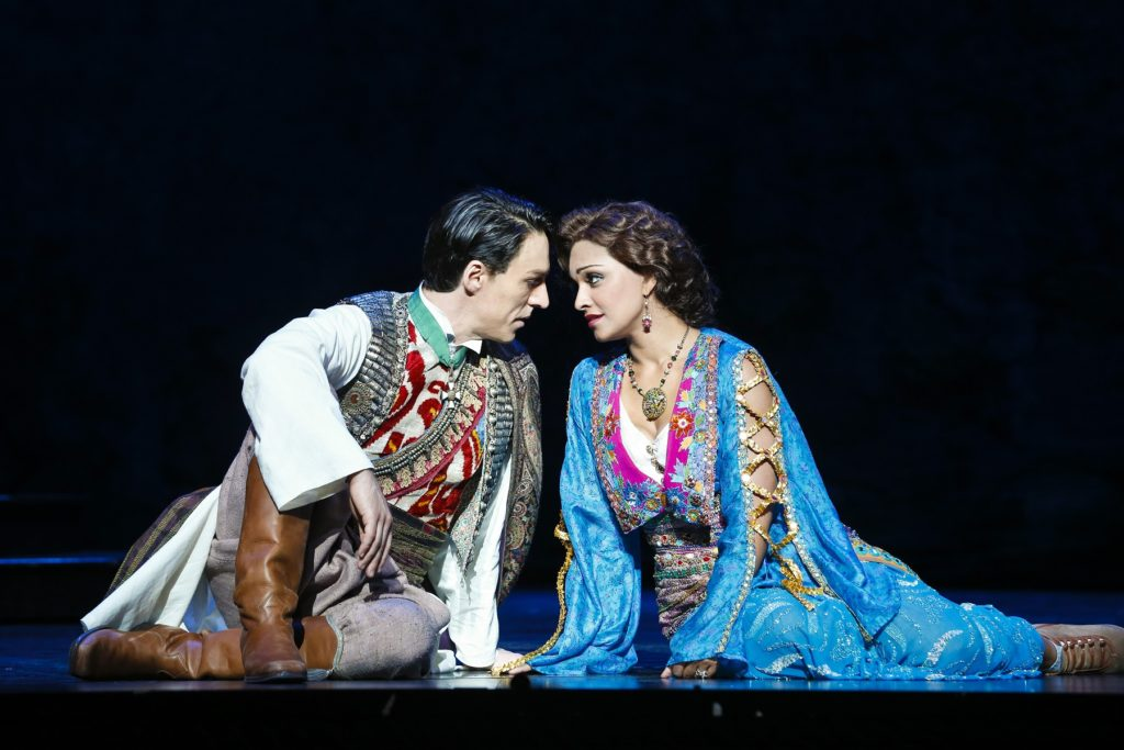 Alexander Lewis as Danilo Danilowitsch and Danielle de Niese as Hanna Glawari in Opera Australia's production of The Merry Widow at the Arts Centre Melbourne.