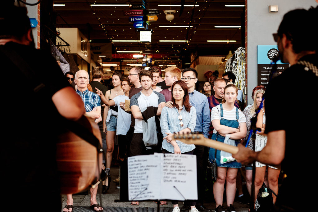 Live music is another drawcard of South Melbourne's night market.