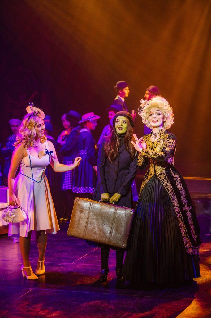 Jasmine Arthur(Glinda), Emily Svarnias (Elphaba) and Emily Palmer (Madame Morrible).