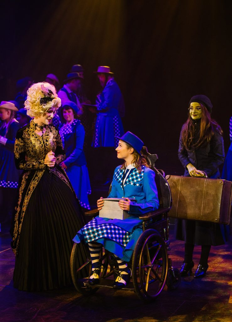 Emily Palmer (Madame Morrible), Taylor Troeth (Nessarose) and Emily Svarnias (Elphaba).